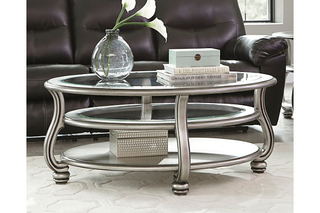 Silver Finish Coralayne Coffee Table by Ashley HomeStore