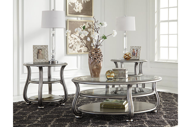 Glass And Silver Finish Living Room Table Set