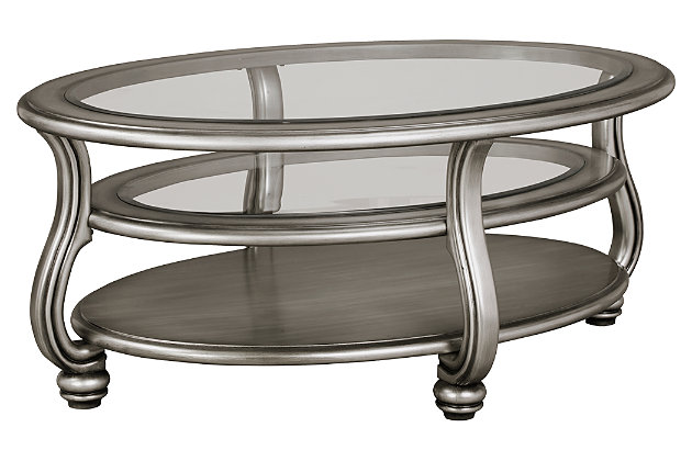 Coralayne Coffee Table by Ashley HomeStore, Silver Finish