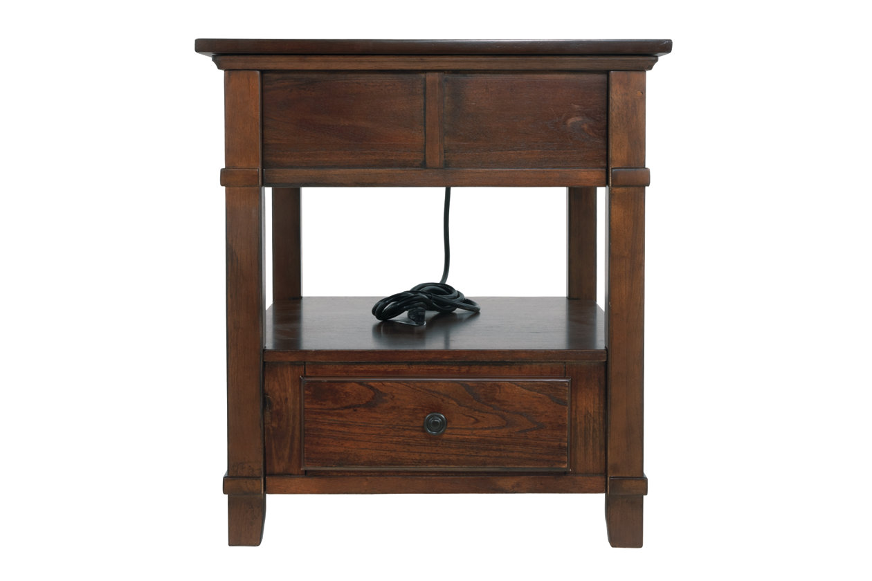 Gately End Table With Storage Power Outlets Ashley Furniture Homestore