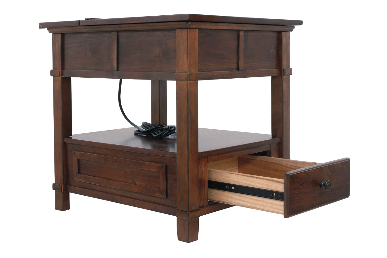 Gately End Table With Storage Power Outlets Ashley