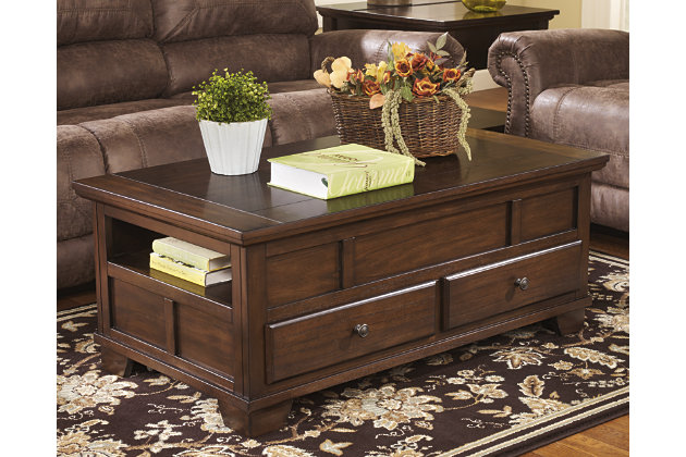 Gately Coffee Table with Lift Top by Ashley HomeStore, Brown