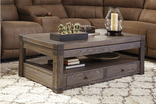 weathered wood lift top coffee table - Burladen Coffee Table With Lift Top Ashley Furniture HomeStore