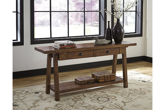 Wonderful Wooden Sofa Table With Inlaid Chevron Pattern