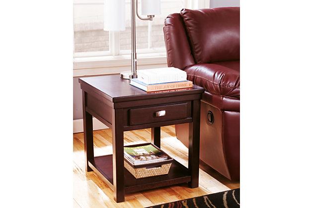 Lovely Sleek Dark Wood Side Table With Brushed Nickel Handle