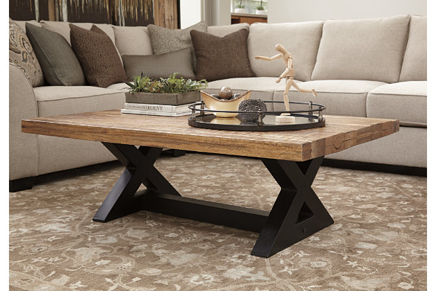 Light Brown Wood Coffee Table With Black Metal Base
