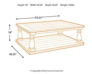 Mallacar Coffee Table Ashley Furniture HomeStore - Coffee table depth