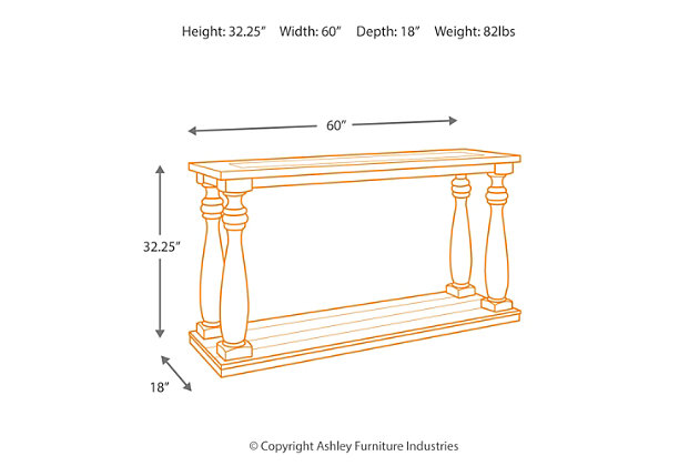 Sofa Height mallacar sofa/console table | ashley furniture homestore