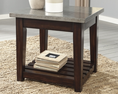 Image of Bynderman End Table, Brown/Silver Finish