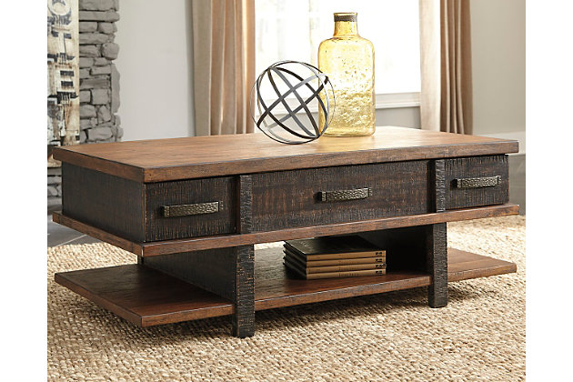 Stanah Coffee Table with Lift Top by Ashley HomeStore, Two-tone