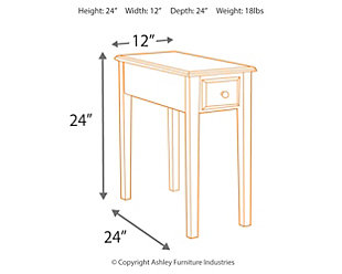 Solid Wood Chairside End Table, , large