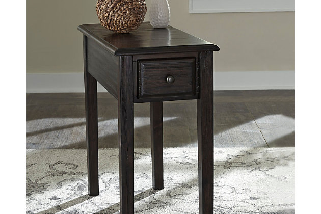 solid wood chairside end table with usb ports outlets ashley