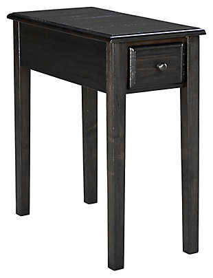 Solid Wood Chairside End Table with USB Ports & Outlets, , large