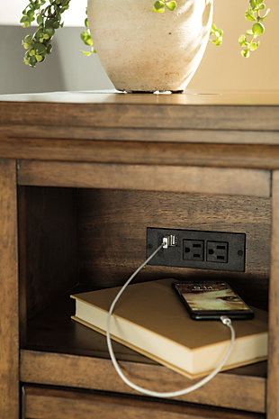 Flynnter Chairside End Table with USB Ports & Outlets, , large
