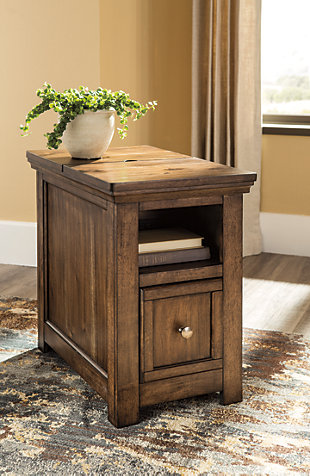 Flynnter Chairside End Table with USB Ports & Outlets, , rollover