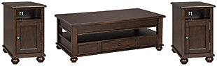Barilanni Coffee Table with 2 End Tables, , large