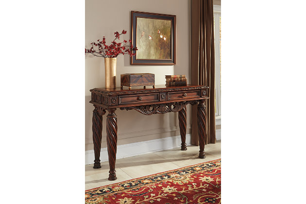 Ornately Carved Dark Wood Sofa Table