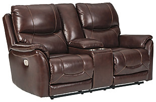 Dellington Power Reclining Loveseat with Console, Brown, large