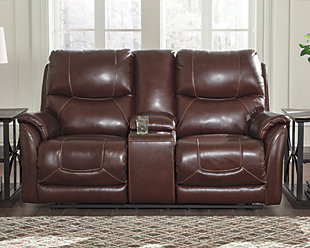 Dellington Power Reclining Loveseat with Console, Brown, rollover