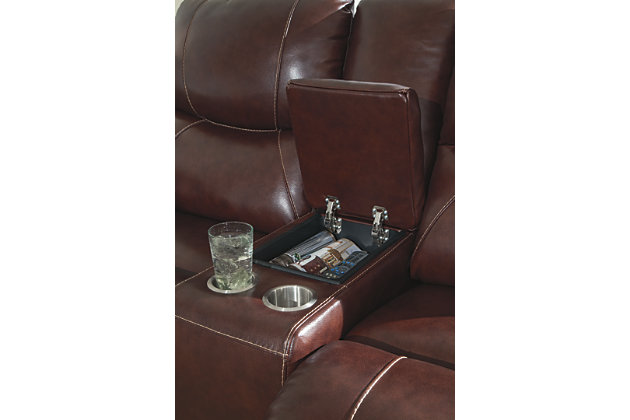 Dellington Power Reclining Loveseat with Console, Walnut, large