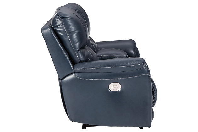 Dellington Power Reclining Loveseat with Console, Marine, large