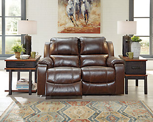 Rackingburg Power Reclining Loveseat, Mahogany, rollover