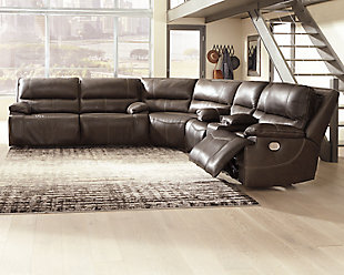 Ricmen 3-Piece Reclining Sectional with Power, Walnut, rollover