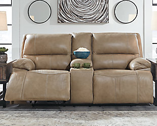 Ricmen Power Reclining Loveseat with Console, Putty, rollover