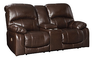 Hallstrung Power Reclining Loveseat with Console, Chocolate, large