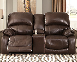 Hallstrung Power Reclining Loveseat with Console, Chocolate, rollover