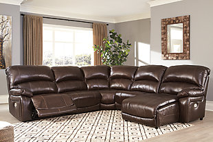 Hallstrung 5-Piece Power Reclining Sectional with Chaise, Chocolate, rollover