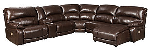 Hallstrung 6-Piece Power Reclining Sectional with Chaise, Chocolate, large
