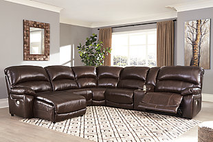 Hallstrung 6-Piece Power Reclining Sectional with Chaise, Chocolate, rollover