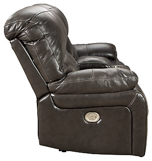 Hallstrung Power Reclining Loveseat with Console, Gray, large