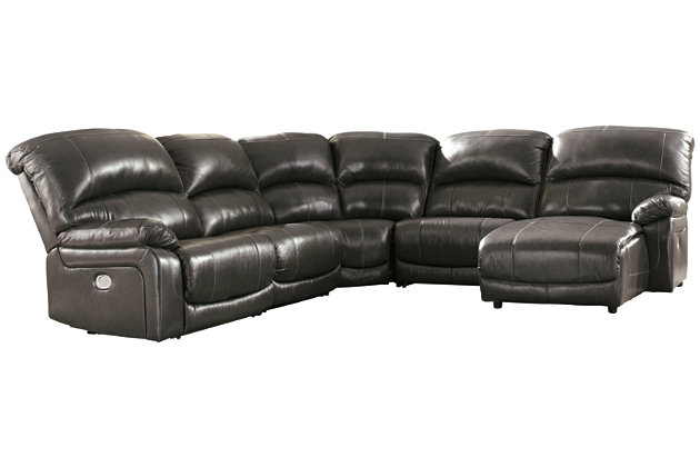 Hallstrung 5-Piece Power Reclining Sectional with Chaise, Gray, large