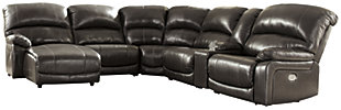 Hallstrung 6-Piece Power Reclining Sectional with Chaise, Gray, large