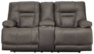 Wurstrow Power Reclining Loveseat with Console, Smoke, large