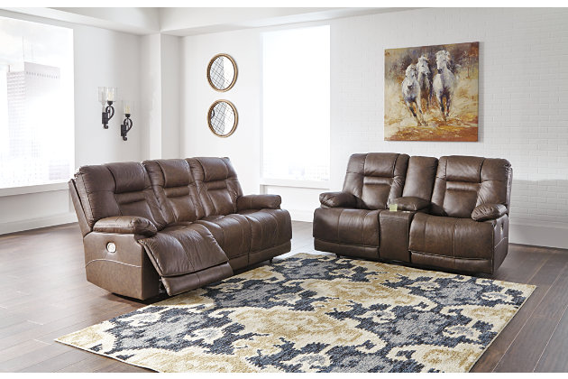 Wurstrow Power Reclining Sofa, Umber, large