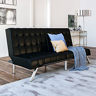 Elvia Convertible Futon, Black, rollover