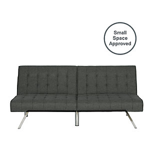 Elvia Convertible Futon, Gray, large