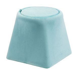 Botanical Ottoman, Light Blue, large