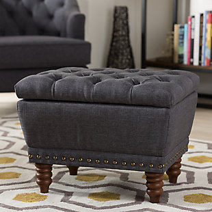 Annabelle Button-Tufted Storage Ottoman, Dark Gray, rollover