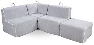 Kids 4 Piece Foam Bravado Sectional Set, , large