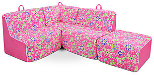 Kids 4 Piece Foam Daisy Sectional Set, , large