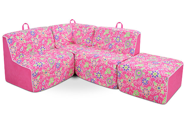 Sensational Kids 4 Piece Foam Daisy Sectional Set Ashley Furniture Pdpeps Interior Chair Design Pdpepsorg