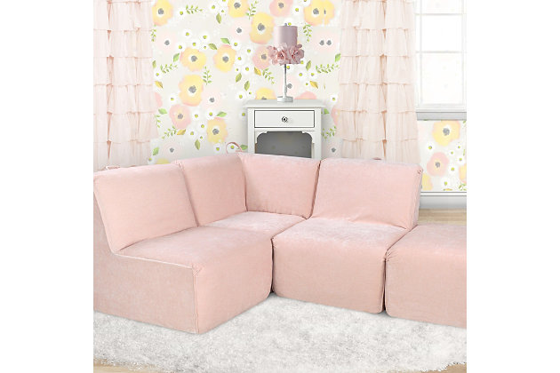 Kids Zamora Blush Foam Corner Seat Ottoman, Blush Pink, large