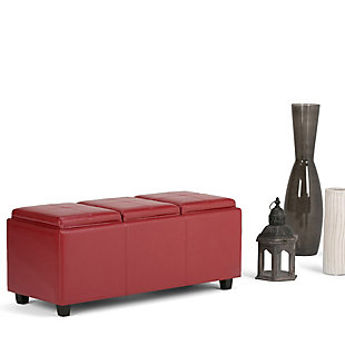 Ottoman Storage Ottoman with Trays, Crimson, rollover