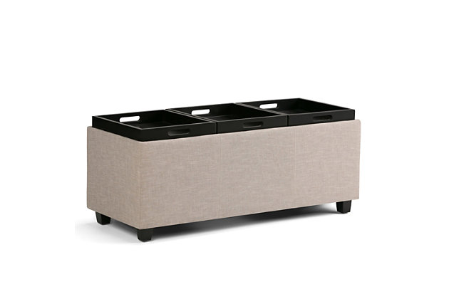 Ottoman Storage Ottoman with Trays, Natural, large