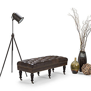 Ottoman Traditional Ottoman Bench, Distressed Brown, rollover