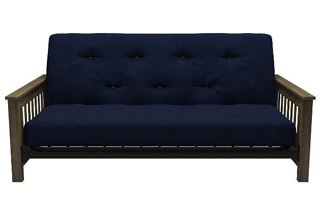 "EveryRoom Noah Wood Arm Futon with 6"" Coil Linen Mattress, Blue, large"